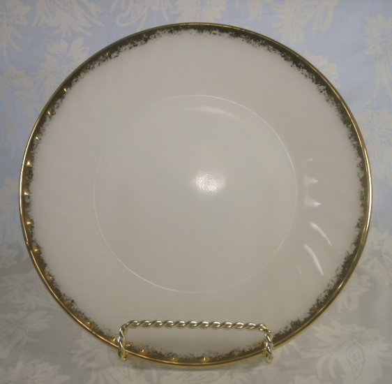 "FIREKING MILK WHITE GOLD TRIM 9"" LUNCHEON PLATES SET OF 6"
