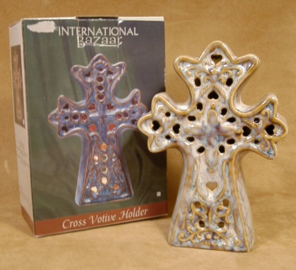 INTERNATIONAL BAZAAR PIERCED CROSS VOTIVE HOLDER *NIB*