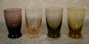 ETCHED CRYSTAL MULTICOLOR MINI TUMBLERS SET OF 4 *SHIPS FREE*