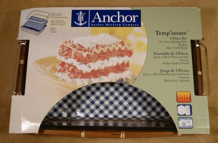 ANCHOR HOCKING 3 PC. BAKING DISH BASKET HOT/COLD PACK