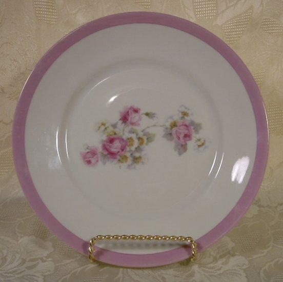 PORCELAIN PLATE W/ PINK ROSES PATRA GERMANY