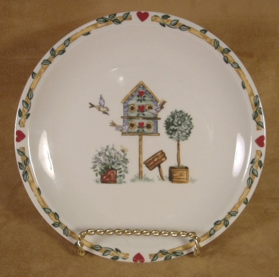 THOMSON POTTERY BIRDHOUSE DESSERT PLATES SET OF 3