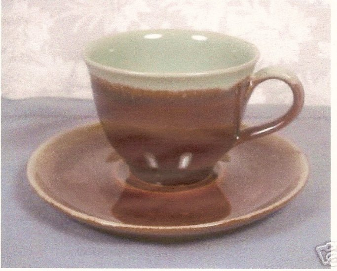 VINTAGE DENBY STONEWARE BROWN/GREEN DRIP CUPS & SAUCERS SET OF 4