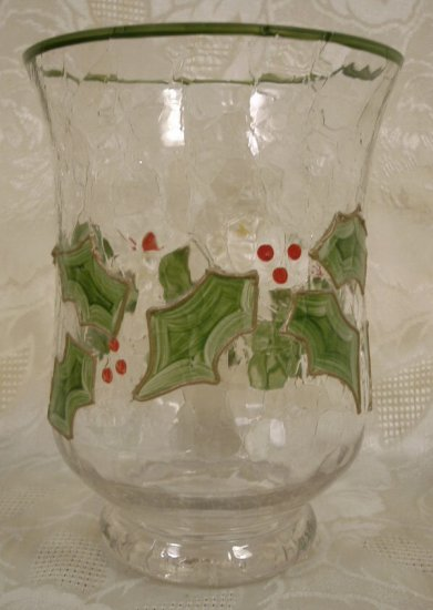 CRYSTAL CRACKLE GLASS HOLLY & BERRY HOLIDAY CANDLE JAR