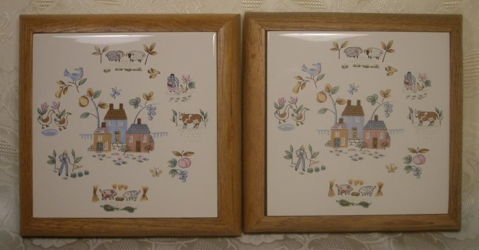 INTERNATIONAL CHINA HEARTLAND SET OF 2 TILE TRIVETS OAK