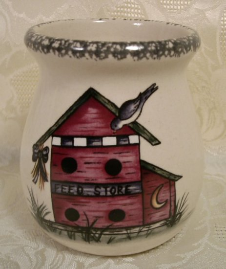 HOME & GARDEN PARTY BIRDHOUSE SM. SPOON JAR CROCK