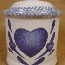 CORELLE BLUE HEARTS MED. STONEWARE CANISTER