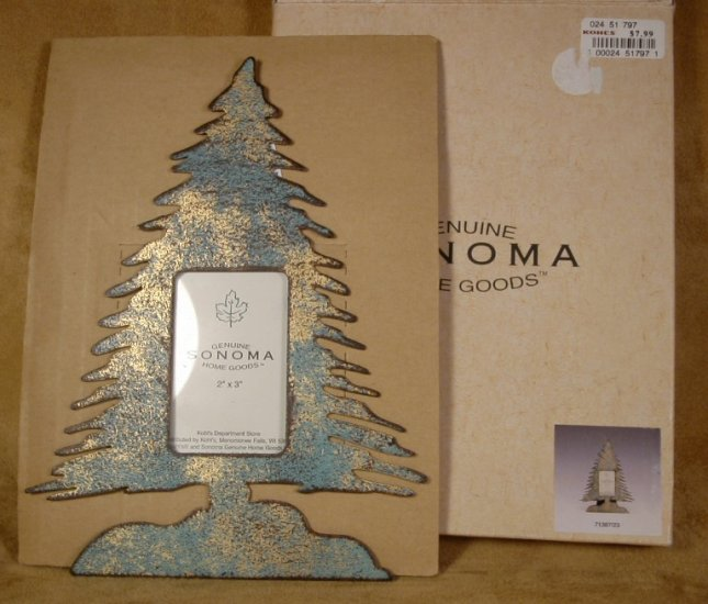 "SONOMA RUSTIC CHRISTMAS TREE PHOTO FRAME 2"" X 3"" *NIB* *SHIPS FREE*"
