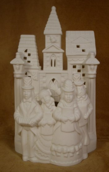 PARTYLITE HOLIDAY VILLAGE CAROLERS IVORY PORCELAIN TEALIGHT HOLDER