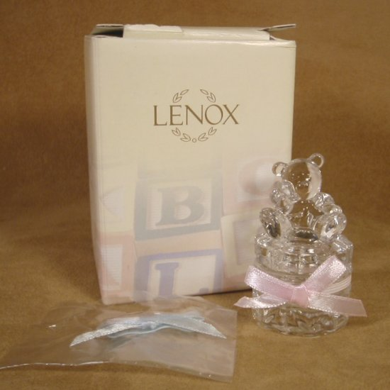 LENOX CRYSTAL BEAR TOOTHFAIRY BOX W PINK & BLUE RIBBONS *SHIPS FREE*