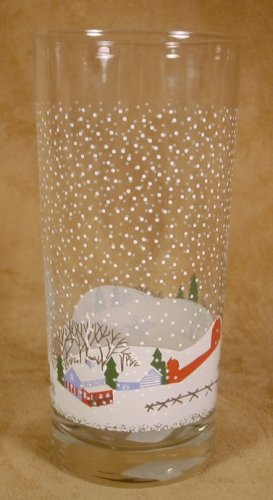 COUNTRY CHRISTMAS COOLER GLASSES SET OF 4 SLEIGH FARM