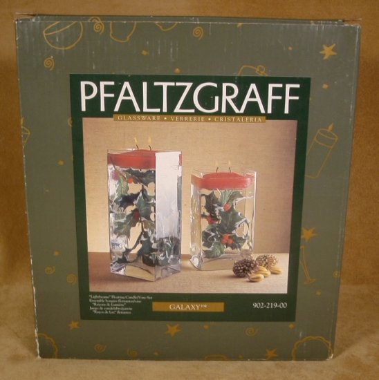 PFALTZGRAFF GALAXY HOLIDAY FLOATING CANDLE VASE SET *NIB*