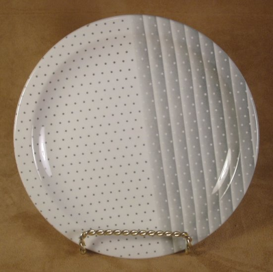 CHURCHILL ENGLAND SHADES GRAY DOTTED SALAD PLATES SET OF 3