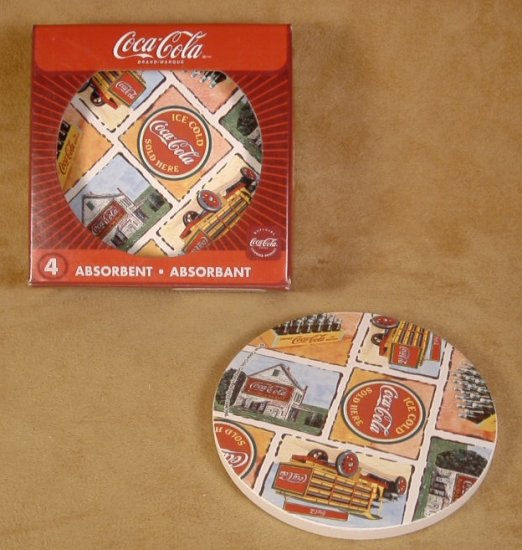 COLLECTIBLE COCA-COLA GOOD OLE DAYS STONE COASTERS *NIB* *SHIPS FREE*