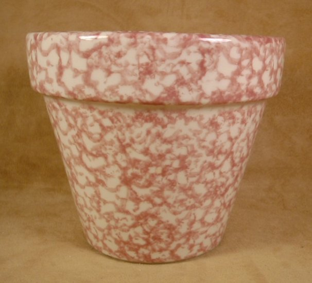 ROSE SPONGEWARE FLOWER POT PLANTER POTTERY V832