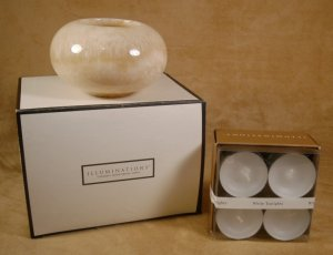 ILLUMINATIONS QUARTZ TEALIGHT HOLDER *NIB* W/TEALIGHTS
