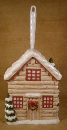 HOME BAZAAR LOG HOUSE CERAMIC TOILET BRUSH HOLDER *NEW