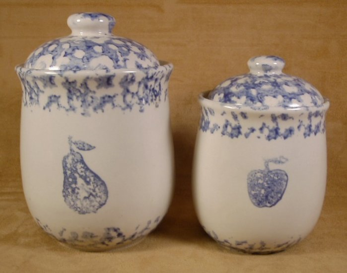TIENSHAN HEARTS FRUIT ANIMALS BLUE SPONGE STONEWARE CANISTERS