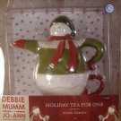 DEBBIE MUMM SNOW FAMILY HOLIDAY TEA FOR ONE TEAPOT *NIB