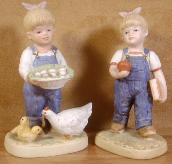 HOMCO 2 PC LOT DENIM DAYS GIRL FIGURINES #1509 #1513