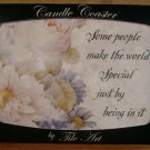 TILE ART CANDLE COASTER FLORAL FRIENDSHIP THEME *NIB*