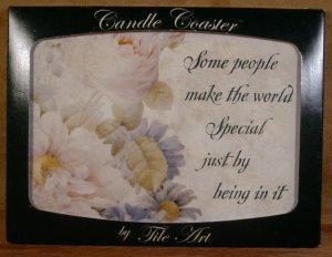 TILE ART CANDLE COASTER FLORAL FRIENDSHIP THEME *NIB*