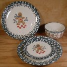 TIENSHAN FOLKCRAFT GINGER BREAD 4 PC LOT PLATES BOWL