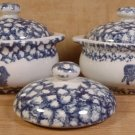 TIENSHAN FOLK CRAFT ANIMALS BLUE SPONGED COVERED CROCKS