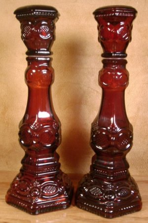 AVON 1876 CAPE COD COLLECTION RUBY RED CANDLESTICKS