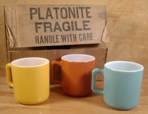 VINTAGE ANCHOR HOCKING PLATONITE CUPS MINT IN BOX - 6