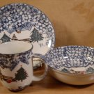 TIENSHAN FOLKCRAFT CABIN IN THE SNOW PLATES BOWL MUG