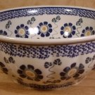 BOLESLAWIEC, POLAND POTTERY LG BLUE FLORAL SERVING BOWL