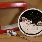 SONOMA SNOWMAN ANGELS CHRISTMAS CHEESE PLATE W/KNIFE