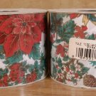 WHITE YULETIDE DESIGN FABRIC CHRISTMAS RIBBON 25 YD NEW