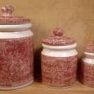 HARTSTONE JEWEL TONE RUBY CANISTER SET OF 3 SIGNED 1983