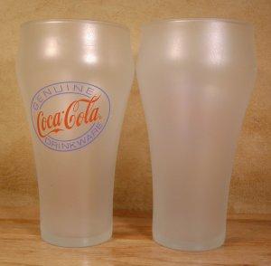 GENUINE COCA-COLA DRINKWARE FROSTED GLASSES - SET OF 6 - *EUC*
