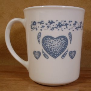 CORELLE CORNING WARE BLUE HEARTS MUGS SET OF 4 *EUC*