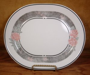 CORELLE SILK & ROSES OVAL SERVING PLATTER *EUC*