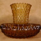 HOME INTERIORS AMBER DIAMONDLITE VOTIVE CUP W/BASE