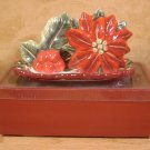 POINSETTIA CERAMIC SALT & PEPPER SHAKERS W/TRAY *NIB*