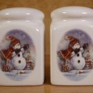 THE MAGIC OF CHRISTMAS STONEWARE SALT & PEPPER SET *EUC*