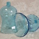 HOME INTERIORS TALL BLUE GLASS VOTIVE HOLDERS PEGLITES