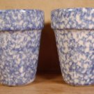 HENN BLUE SPONGEWARE HERB POTS SIGNED U.S.A. SET OF 2