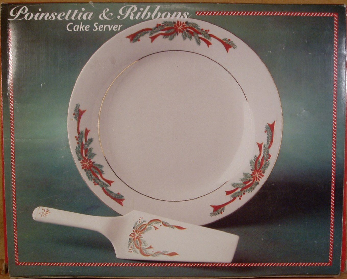 TIENSHAN FAIRFIELD POINSETTIA & RIBBONS CAKE SERVER MINT IN BOX