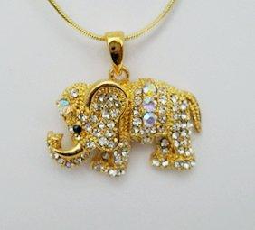Golden Swarovski Crystal Elephant Necklace