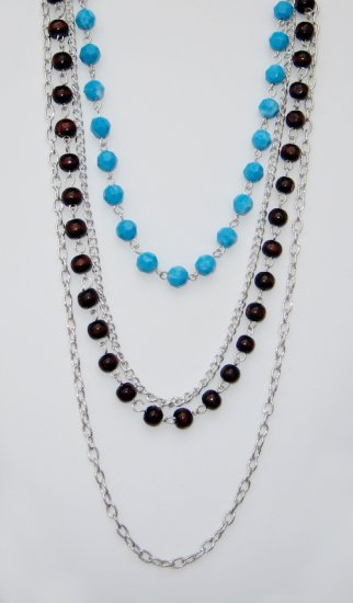 Brown and Blue Bead Necklace.