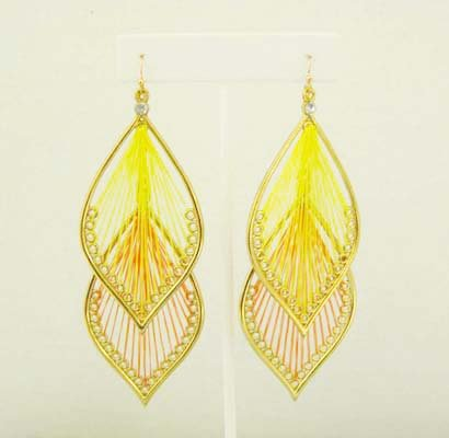 Interchangable Thread Earings: Yellow & Orange