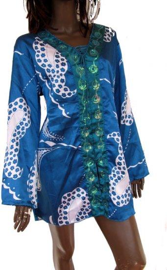 blue satin & sequin trim kaftan top Free size