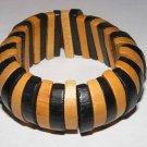 Wooden wide African design stretch cuff