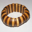 Wooden wide African design stretch cuff bracelet